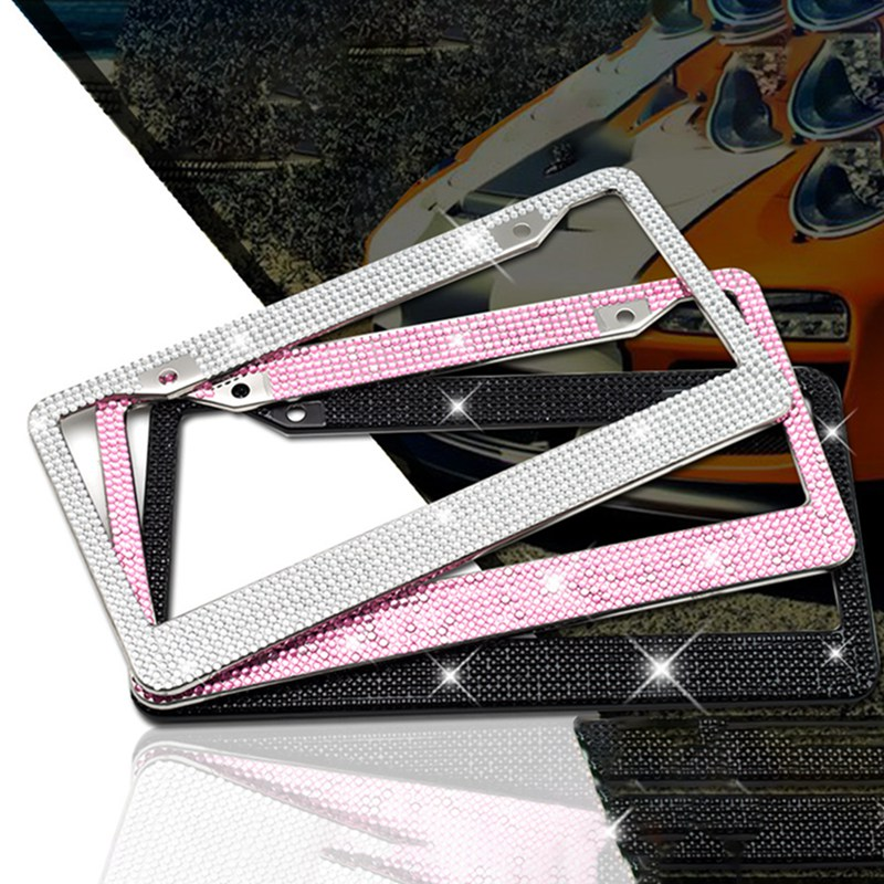 2PCS Bling Crystal License Plate Frame Women Luxury Handcrafted Rhinestone Car Frame Plate With Ignition Button