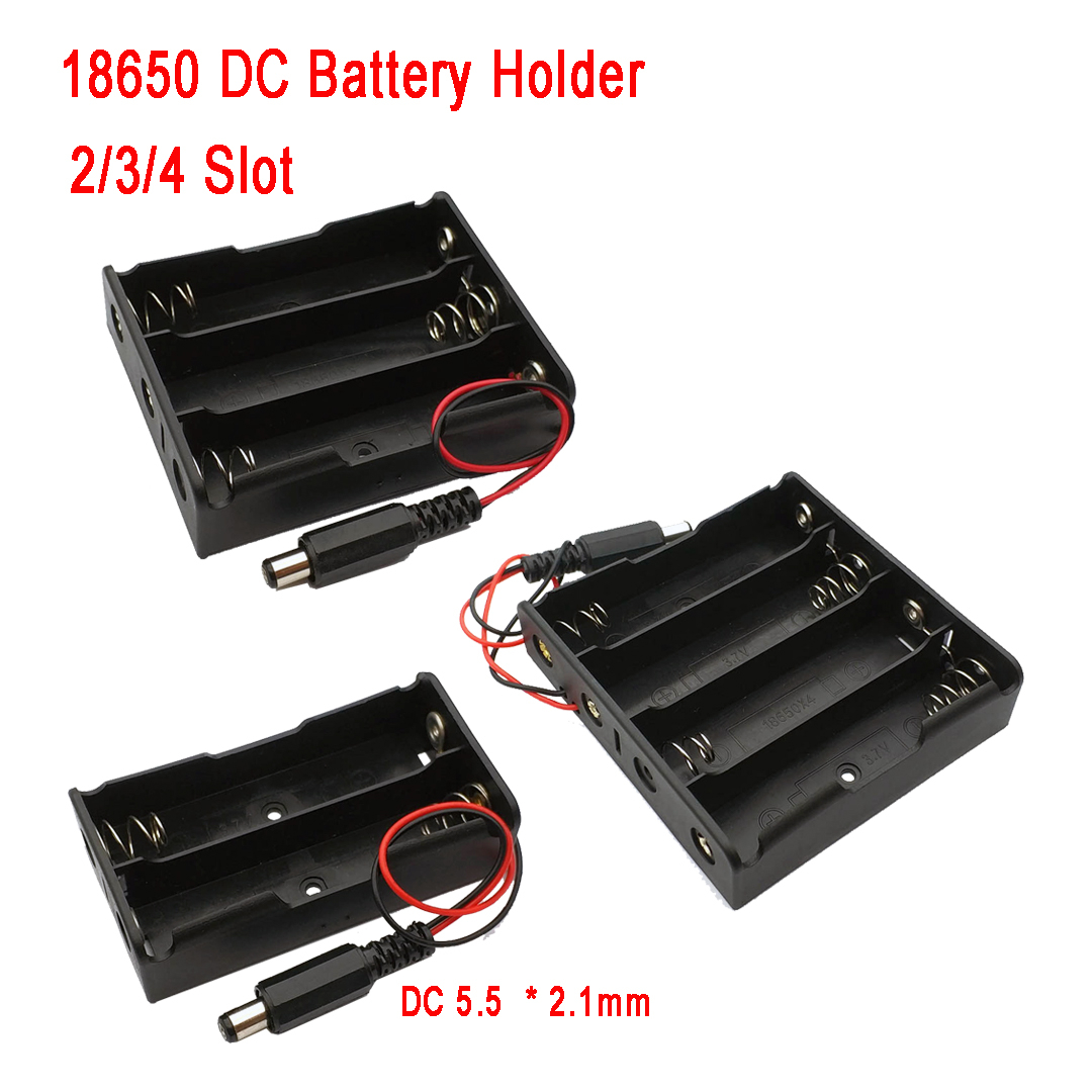 1 Pcs New Black DIY 2x 3x 4x 18650 Battery Holder Storage Box Case With DC 5.5x2.1mm Power Plug Plastic + Meta