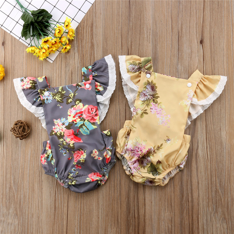 Newborn Baby Girls Flowers Lace Sleeveless Jumpsuit Bodysuits One-Pieces Outfits Floral Button Baby Girls Clothes Yellow Gray