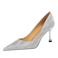 Sexy banquet women's shoes fine heels high heel shallow mouth pointed sequins women's shoes wedding shoes single shoes cinderella slipper shallow mouth high heels bridal shoes diamond wedding shoes fine with pointed shoes
