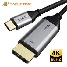 Cabletime usb c para displayport cabo thunderbolt 3 4k 60hz usb tipo c 3.1 para dp adaptador usb para dp uhd vídeo externo c262