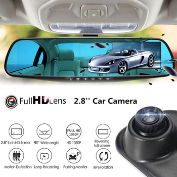 Full HD 1080P Car Dvr Camera 2.8Inch LCD Display Screen Rearview Mirror Digital Video Recorder Microphone Night Vision Camcorder image