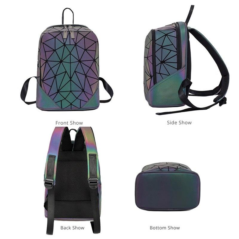 Image 3 - 패션 여성 배낭 mochila 기하학적 빛나는 배낭 bagpack 소녀 noctilucent 여행 어깨 가방 학교 다시 팩에 대 한백팩수화물 & 가방 -