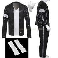 MJ Michael Jackson Billie Jean Mantel Schwarz Pailletten Armband Jacke Hosen Handschuh Socken Party Kostüm Kinder Erwachsene Cosplay Prop