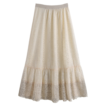 Summer Sexy Lace Skirts 2020 New Flower Hook Patchwork Long Skirt for Women High Waist Slim Pleated Female Faldas Mujer