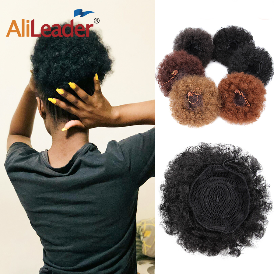 Alileader Blue Black Brown Chignon Bun Hairpiece Fake Afro Puff Ponytail Hair Extensions Synthetic Wig Afro Kinky Curly Hair 1PC