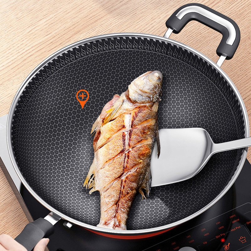 304 Stainless Steel Honeycomb Wok Non-stick Pan Multi-functional Uncoated Household Cooking Pot Induction Cooker Universal