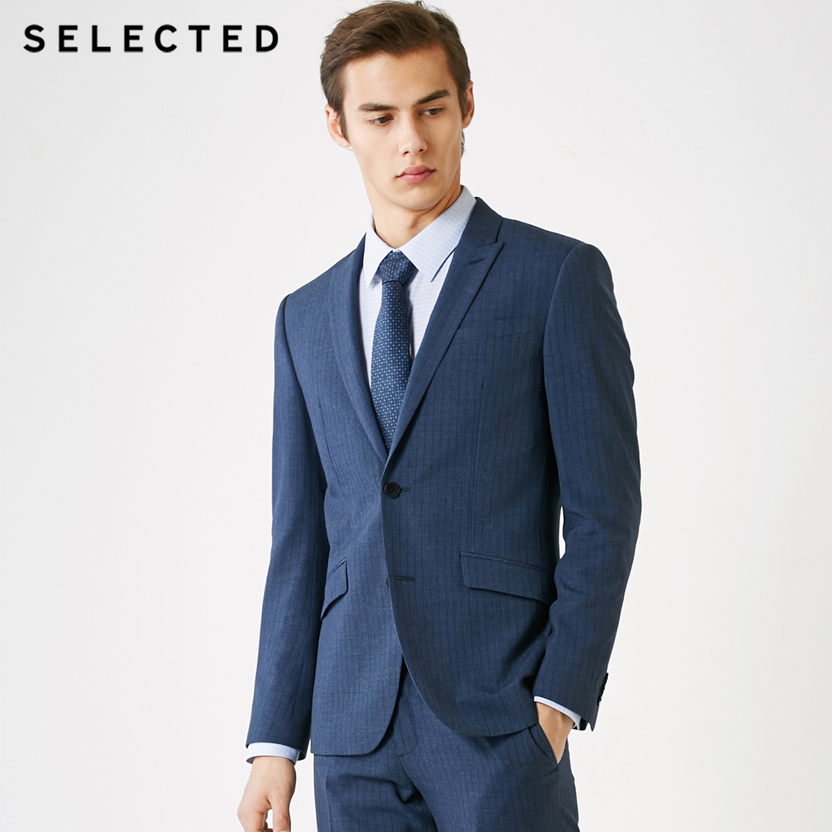 SELECTED Men's Slim Fit Dark Stripe Pattern Blazer Business Jacket T 41915X504