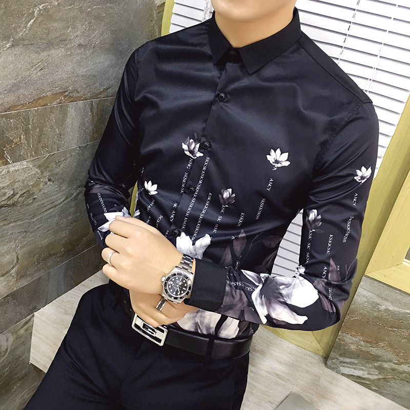 Autumn Fashion Flower Black Printed Long Sleeve Shirts Men Camisa Social Male Slim Casual Shirts Men Camisas Masculina