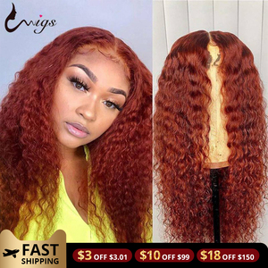 Orange Ginger 13x4x1 Lace Front Wig Deep Wave Wig Lace Front Human Hair Wigs For Women Brazilian Remy Deep Curly Lace Front Wig
