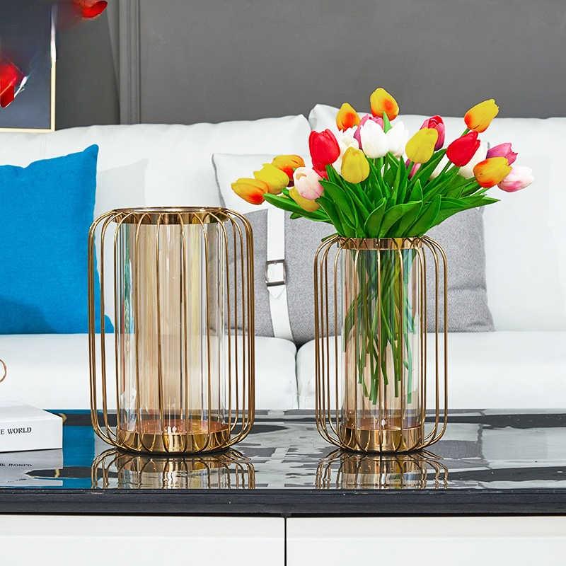 Nieuwe Nordic Creatieve Luxe Metaal Glazen Vaas Ornamenten Woonkamer Tafel Smeedijzeren Bloemstuk Home Decor Verjaardagscadeau Vazen Aliexpress