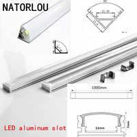 10-20 piezas DHL 1m tira de LED perfil de aluminio para 5050 de 5730 LED duro Barra de luz led barra de aluminio carcasa de canal con cubierta final