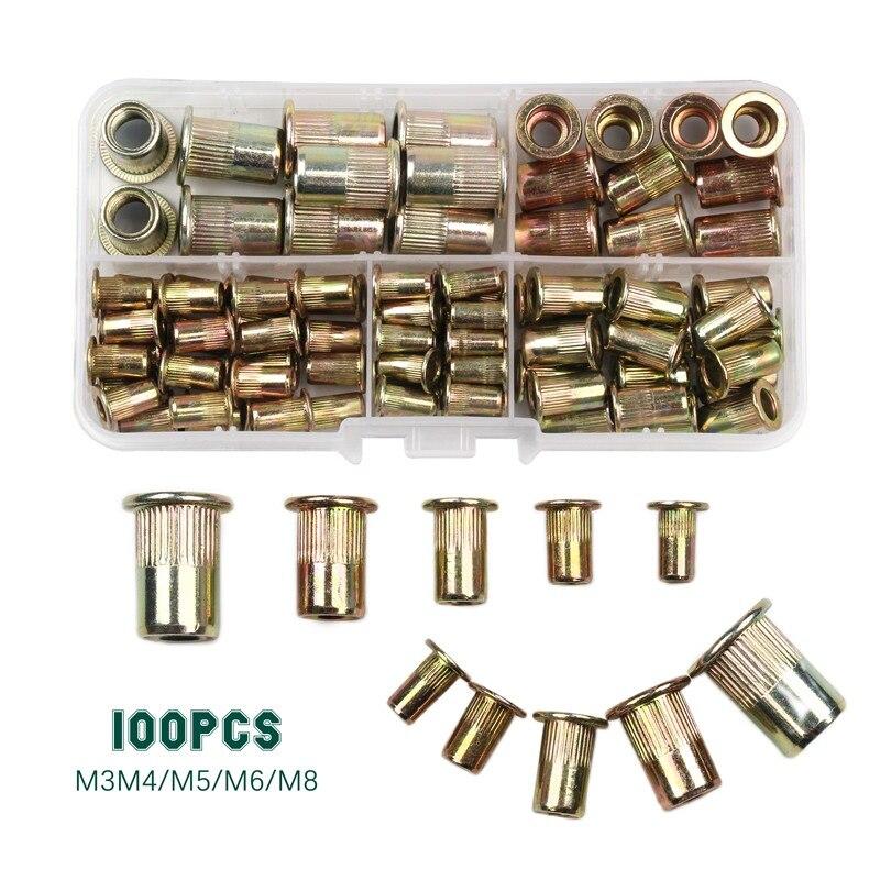 100 Uds M3 M4 M5 M6 M8 remaches de acero al carbono tuercas de inserción remaches Multi tamaño cabeza plana remache tuercas Set