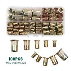 100 pçs m3 m4 m5 m6 m8 porca rebite de aço carbono inserção rebites multi tamanho cabeça plana porcas rebite conjunto