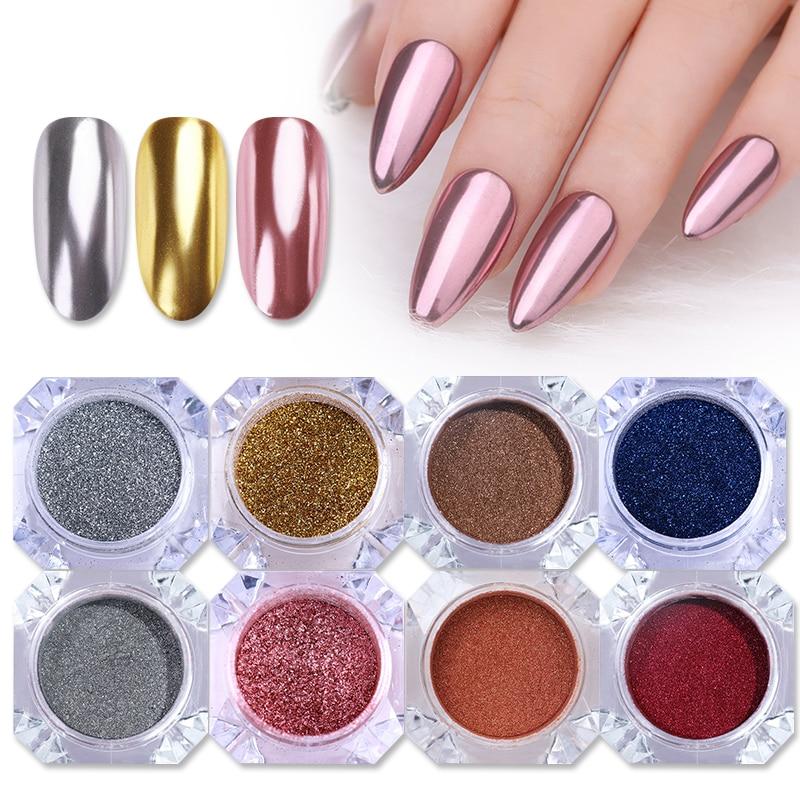 1 коробка зеркальный ногтевой порошок блестящая пыль металлический Красочный Блестящий металлический эффект N0ail арт УФ гель лак хром пигмент пылезащитный порошок