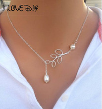 цена на 1Pc Simple Pearl Necklace Leaf Shape Pendant Necklace For Women Fashion Jewelry Chain Necklaces