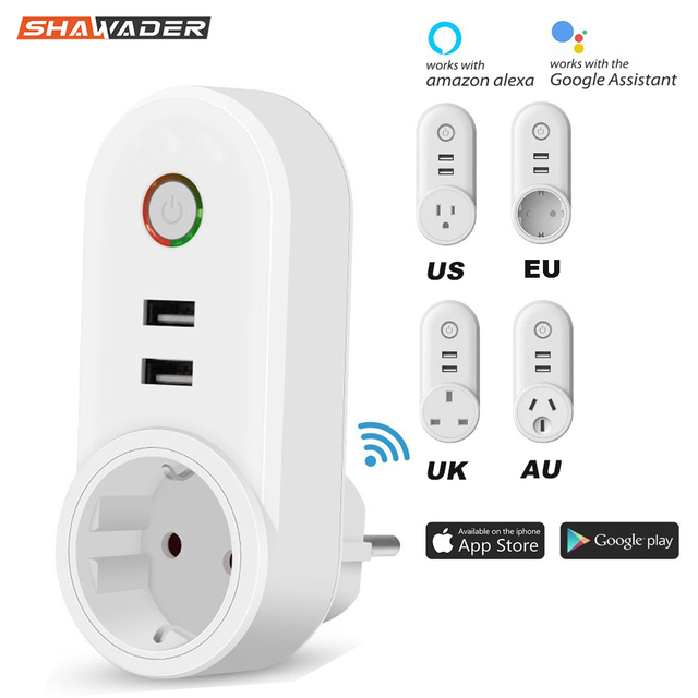 Smart WiFi Power Plug Outlet Socket with USB Remote Control App Control Timer Function Compatible with Amazon Alexa Google Home