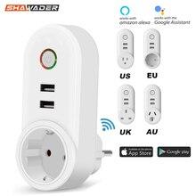 חכם WiFi Outlet Plug Socket עם USB שלט רחוק App בקרת טיימר פונקצית תואם עם אמזון Alexa Google בית