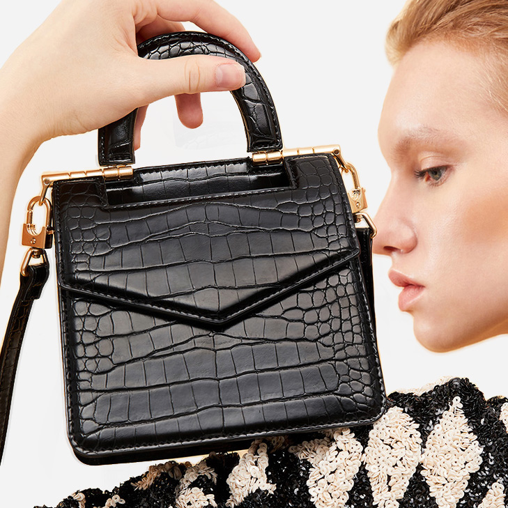 French texture light luxury female bag new crocodile pattern handbag retro flip organ bag