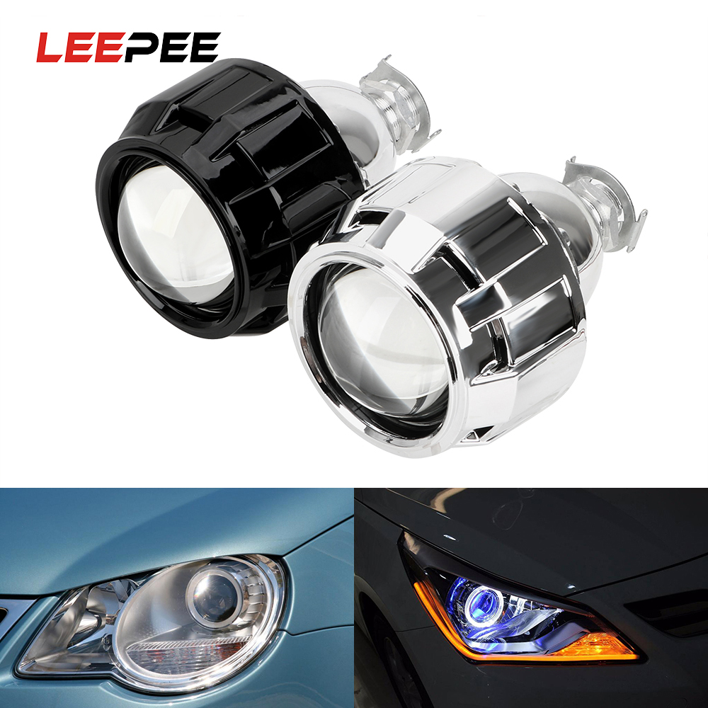 LEEPEE Xenon HID Projector <font><b>Lens</b></font> For H1 Xenon <font><b>LED</b></font> Bulb H4 <font><b>H7</b></font> 2.5 Inch Silver Black Shell Motorcycle Car <font><b>Headlight</b></font> Accessories image