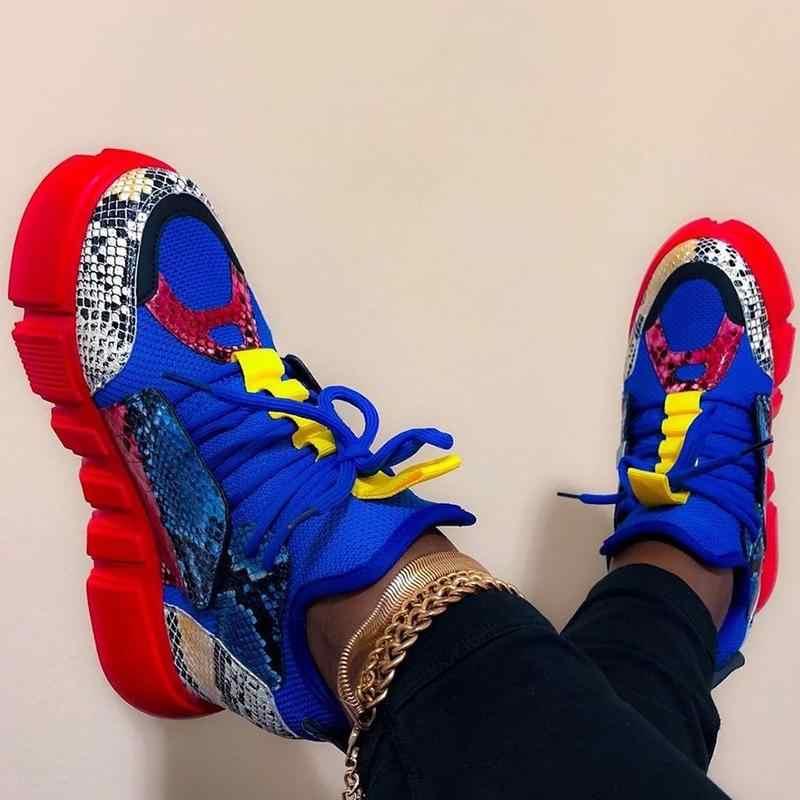 2020 Giày Người Phụ Nữ Thời Trang Phối Màu Sắc Nền Tảng Giày Huấn Luyện Viên Nữ Flat Zapatos De Mujer Thao Nữ Rổ