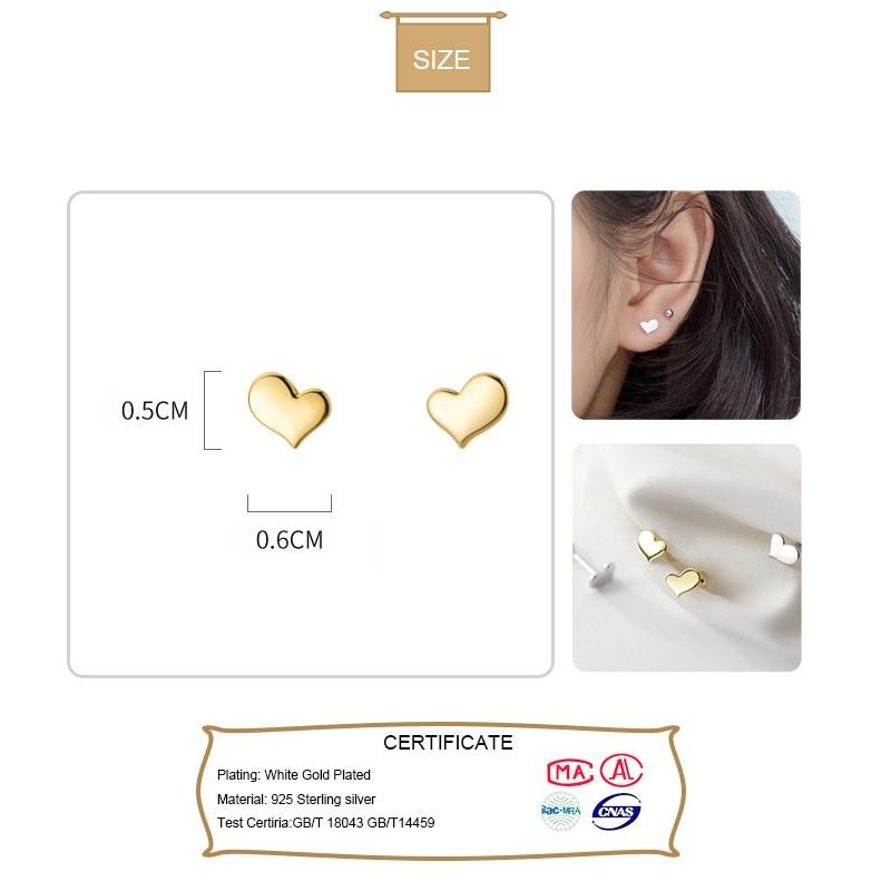 Trust davis Real 925 en argent Sterling coeur vis boucles d'oreilles pour femmes enfants bébé filles enfants Mini minimaliste bijoux DA1979 2