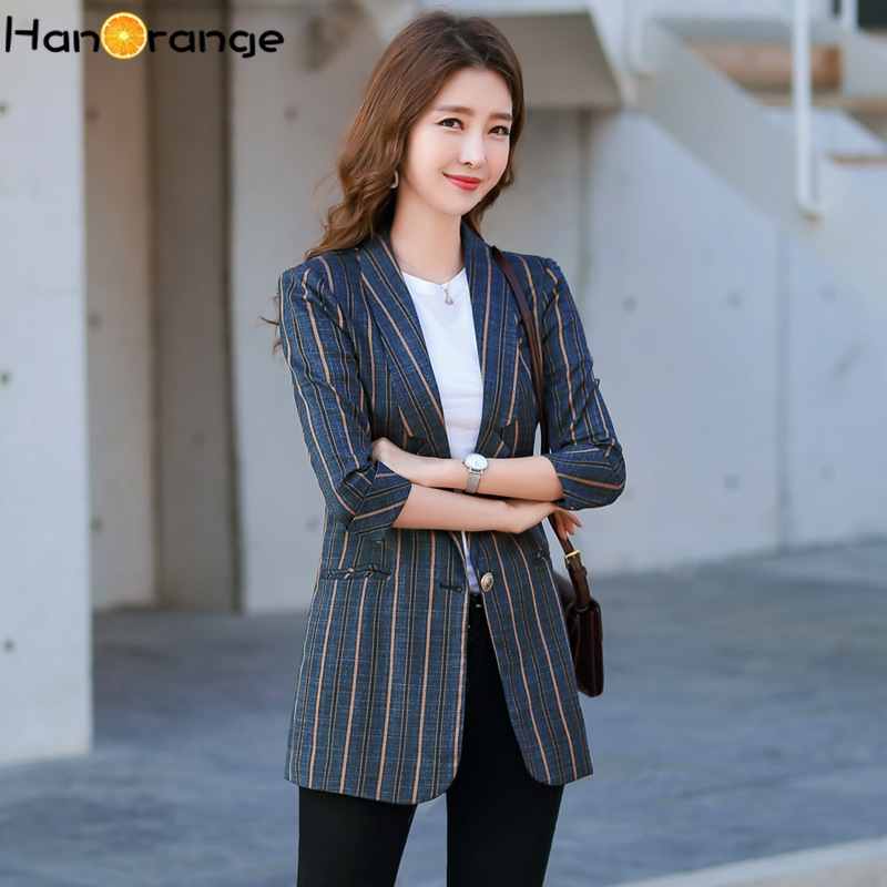 3 Quarter Sleeves Striped Long Blazer Feminino 2020 Spring Summer Loose Temperament Medium-length Casual Outerwear Womens