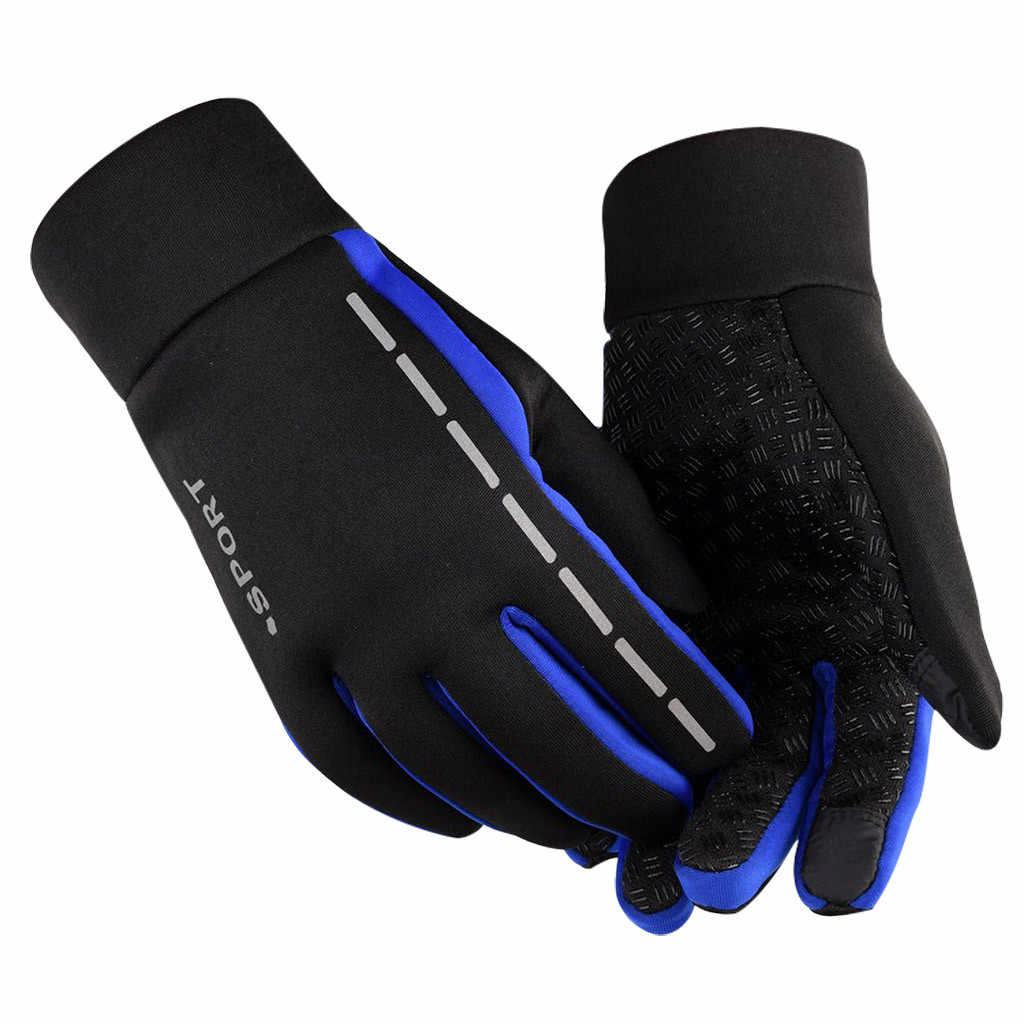 Mens Winter Touch Screen Therm Anti-Slip Elastic Cuff Thermal Soft Lining Gloves