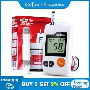 Image 1 - جهاز قياس السكر بالدم وشرائط الاختبار والسنون من Cofoe ييلي ، جهاز قياس السكر بالدم ، جهاز فحص سكر الدم الطبي ، جهاز غلوكمتر للأشخاص
