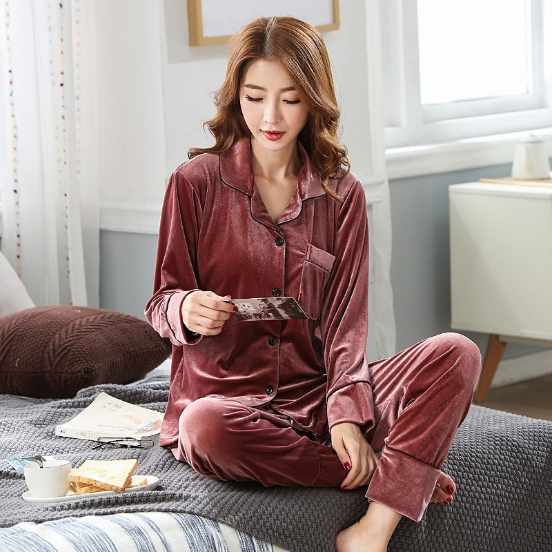 Spring And Autumn Days Gold Velvet Pajamas WOMEN'S Long Sleeve Thin Cardigan Fashion Casual Autumn And Winter Suede Homewear Set
