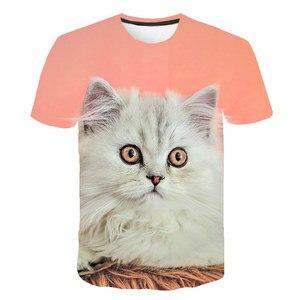 Летняя футболка с принтом кошки для мальчиков и девочек, короткая футболка с 3D-принтом животных, футболка из полиэстера, детская одежда, оде...