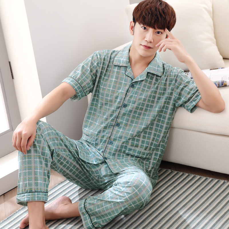 Men T Shirt Cotton Pajama Set 4XL Sleepwear Sexy Mens Turndown Collar Tshirts + Pants Brand Short Sleeve Plaid Casual Tracksuit