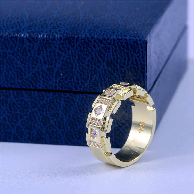 2019 Fashion Luxury 925 Silver AAA Zircon Stone Ring Male Female Gold Color Wedding Band Jewelry Promise Rings For Men And Women