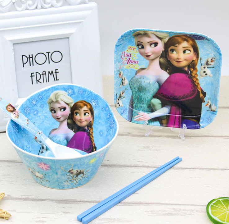 Disney Frozen Children's Tableware Kitchen Restaurant Tools Healthy Material Melamine Bowl Plate Knife Fork Tableware For Party