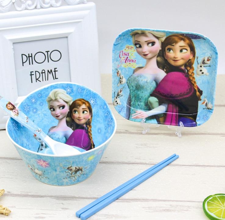 Disney Frozen Children's Tableware Kitchen Restaurant Tools Healthy Material Melamine Bowl Plate Knife Fork Tableware For Party