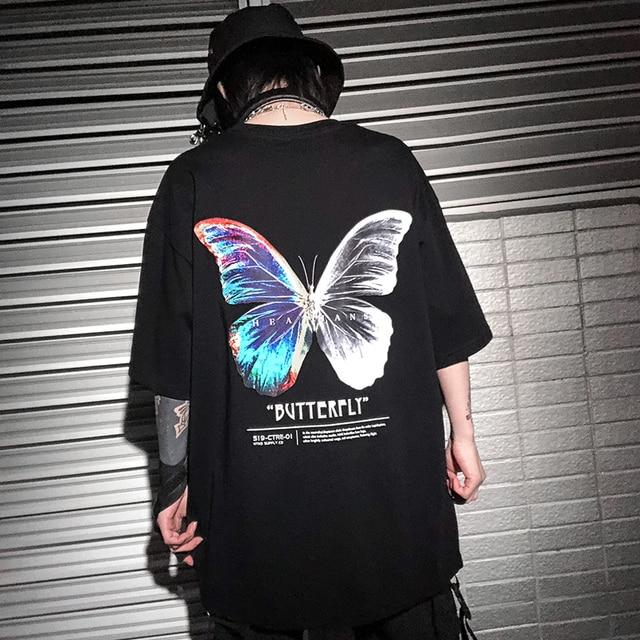 Hip Hop Oversize T Shirt Men 2020 Streetwear Harajuku Color Butterfly Tshirt Short Sleeve Cotton Loose HipHop T-Shirt Plus Size 4