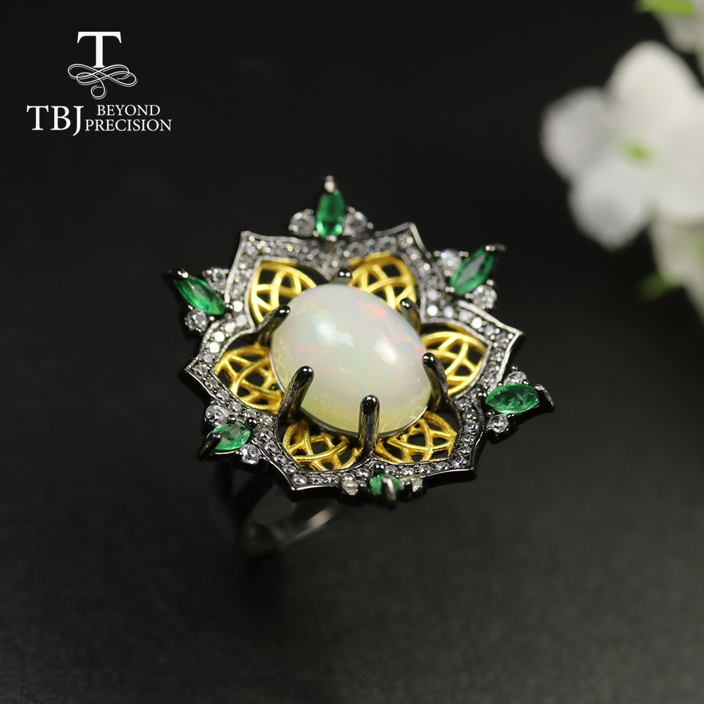 Women Ring Gemstone-Ring Opal Fine-Jewelry Natural-Emerald 925-Sterling-Silver Luxury