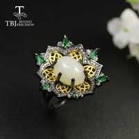 Новое роскошное кольцо с опалом TBJ, 2020, овальное кольцо с натуральным изумрудом 10*12 мм 3ct up, женское кольцо из стерлингового серебра 925 пробы, х...