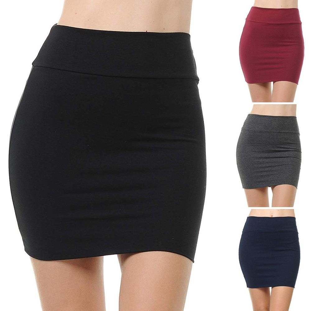 2019 New Fashion Skirt Women Skirts Ladies Solid High Waist Classic Simple Stretchy Tube Pencil Mini Skirt Faldas Mujer Moda