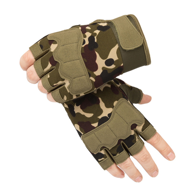 Tactical Outdoor Gloves Gym Cycling Driving Army Hunting Paintball Anti-Slip Multicam Camouflage Gloves Half Finger Men Military