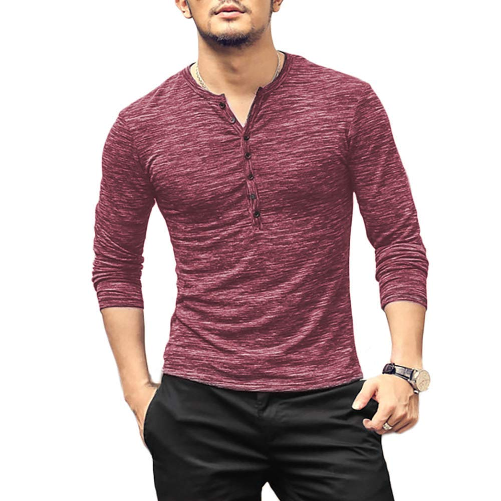 Henley Shirts for Men Long Sleeve Dry Fit V Neck t Shirts Mens White Undershirts