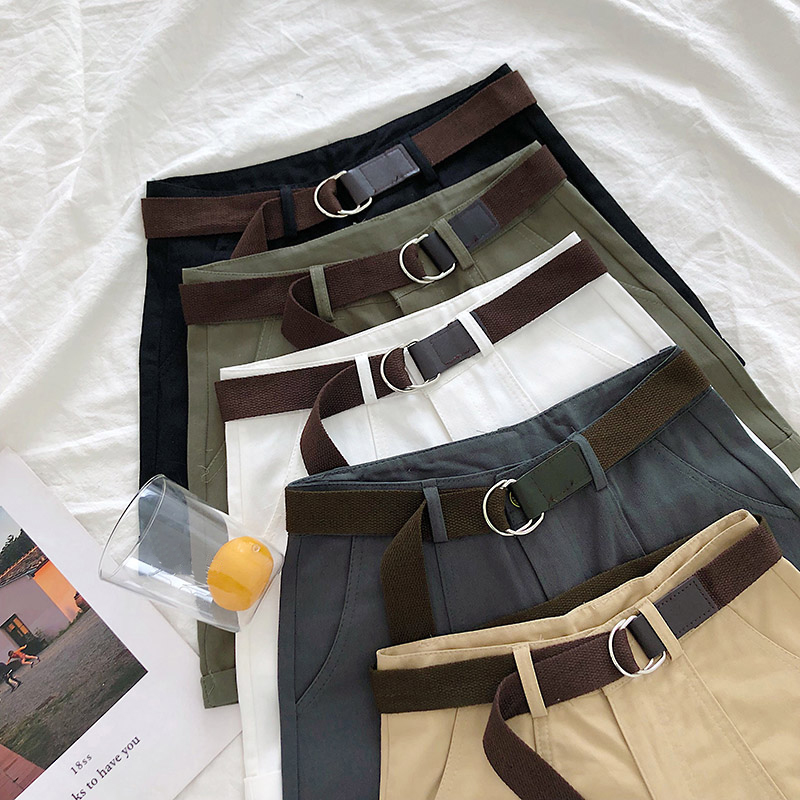 Summer Shorts Women 2020 Korean Casual High Waist Pockets Classic Cuffed Cargo Shorts With Sashes 5 Colors
