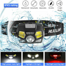 Super Bright Waterproof Head Torch Headlight LED USB Rechargeable Headlamp Fish-Light 1300mah USB Rechargeable Head Lamp(China)