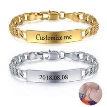 Spersonalizuj niestandardową bransoletkę dla dzieci złoty kolor srebrny Figaro Link nazwa urodzenia ID bransoletka dziewczyny chłopcy dziecko unikalny prezent GBM100