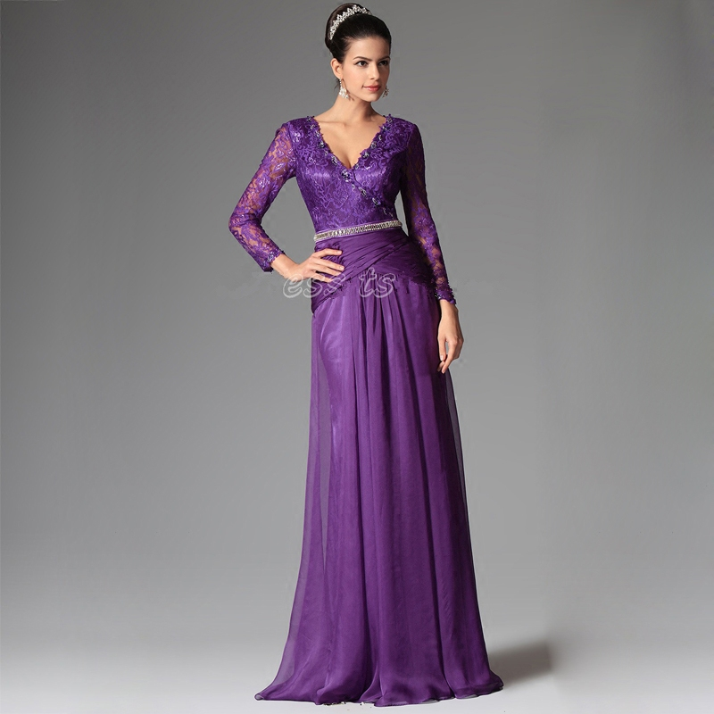 Evening Party Saree Robe De Soiree Courte Purple Lace Crystal Sexy V-neck Beach Long Sleeves Mother Of The Bride Dresses