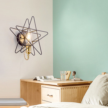 Nordic brass star wall lamp aisle light staircase bedroom head of bed into the house wall light