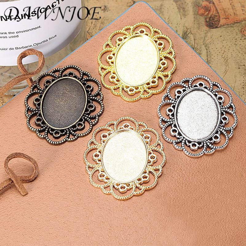 5/10pcs <font><b>18x25mm</b></font> Vintage Hollow lace <font><b>Oval</b></font> Blank Settings Base <font><b>Cabochon</b></font> Tray Base DIY Making pendant Jewelry Finding image