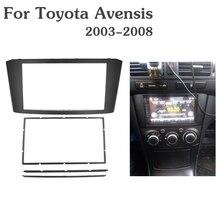 Podwójna 2 Din samochodowa ramka wykończeniowa radia dla TOYOTA Avensis Panel ramka płyta czołowa Stereo Audio Bezel Facia zestaw do montażu na desce rozdzielczej Adapter wykończenia