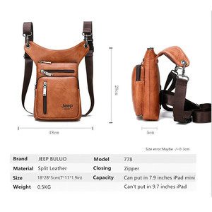 Image 3 - JEEP BULUO Multi function Men Bags Small Crossbody Shoulder Bag Split Leather Fashion Leg waist bag Totes New Young Male Mini