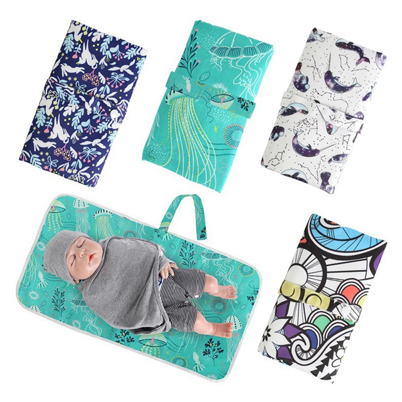 Baby Portable Foldable Washable Travel Nappy Diaper Changing Cotton Mat Waterproof Baby Floor Print Mat Change Play Mat